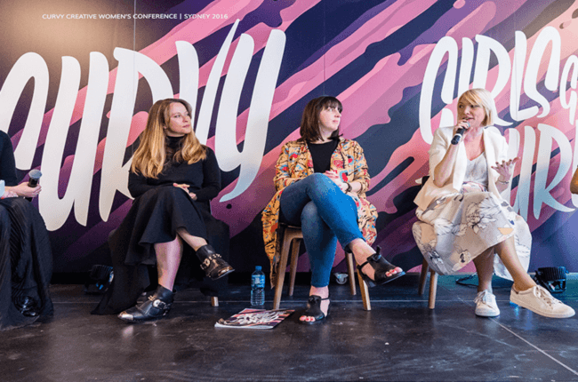 Jen Jeavons (web designer) speaks at Curvy Women's Conference 2016 alongside two other guests